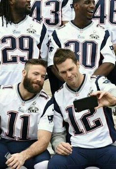 A Julian Edelman and Tom Brady selfie at Super Bowl 49 picture day.