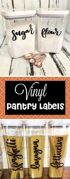 This vinyl pantry labels are the perfect addition for my kitchen! I love the hand lettered look and it makes it so much more organized! I'm all for better kitchen organization! #organization #pantry #kitchenorganization #ad