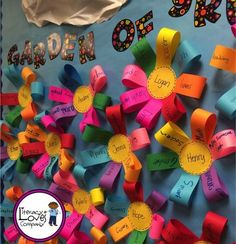 Brighten up your classroom and your student's self esteem with this colorful bulletin board and lesson. Integrating art and content in the ELA classroom. Tips and resources. Garden Bulletin Boards, Flower Bulletin Boards, Colorful Bulletin Boards, Spring Bulletin Boards, Classroom Bulletin Boards, April Bulletin Board Ideas, Kindergarten Bulletin Boards, Garden Theme Classroom, Classroom Crafts