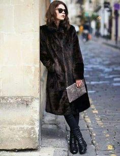 Brown fake fur coat