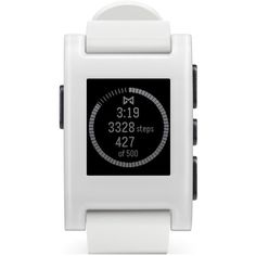 Pebble Smart Watch, 33mm ($100) ❤ liked on Polyvore featuring jewelry, watches, accessories, bracelets, white, pebble jewelry, white jewelry, white watches, white wrist watch and digital wristwatch