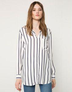Bershka Hungary - Bershka striped print long shirt