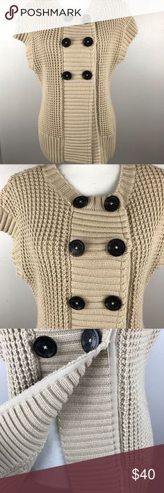 Michael Kors Short Sleeve Cardigan Sweater chunky Michael Kors Size Medium Gorgeous short sleeve Cardigan sweater. Honey comb chunky knit. This is a tan, nude, beige color. The buttons are snap buttons and each say michael Kors  Small thread pull by the top button 60% cotton 40% acrylic 
