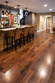 Nice bar/mancave area with walnut hardwood flooring Walnut Hardwood Flooring, Hardwood Floor Colors, Wide Plank Flooring, Basement Flooring, Timber Flooring, Flooring Ideas, Vinyl Flooring, Kitchen Hardwood Floors, Dark Flooring