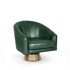 Being a matinee idol, Bogarde soon became a giant in the high-rank intellectual cinema. That's the reason for this inspiring accent armchair. It is finished in leather, a very popular fabric in the 60's, and the swivel polished brass base conveys an idea of style and playfulness. It can make a great occasional chair for the home or office.