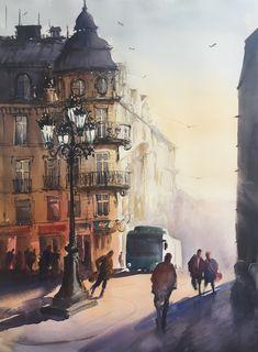 Stefan Gadnell present his watercolors and arts. Uppsala, Landscape Art, My Arts, Watercolor, Art Prints, Paintings, Illustrations, Artists, Decoration