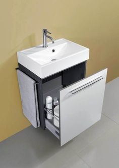 Small wall mount bathroom vanity bathroomcabinets is part of Compact bathroom - Modern Small Bathrooms, Small Bathroom Sinks, Compact Bathroom, Bathroom Wall Cabinets, Diy Bathroom Vanity, Bathroom Design Small, Bathroom Interior Design, Bathroom Storage, Bathroom Ideas