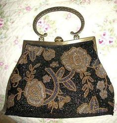 Vintage Beaded Handbag Purse Downton Abbey Style W/shoulder Chain Flapper $35