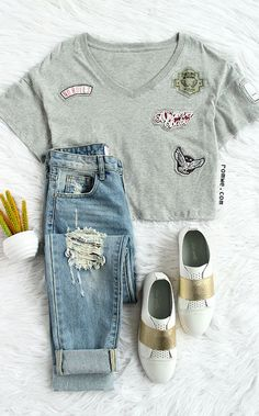 Embroidered Grey T-shirt - Womens Fashion Clothing at Romwe.com