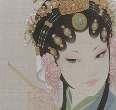 Chinese Opera - WOW! Look at that headpiece! Since it is the color of her hair, it actually looks like her hair is designed that way! - SUPERB!