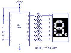 7446 seven segment decoder driver circuit diagram