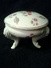 Vintage Porcelain Three Footed Roses Trinket Box With Lid Made in Japan