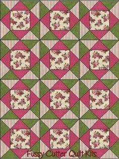 Red Rooster Sohpys Red Pink Tan Roses Shabby Chic Floral Flowers Fabric Easy Pre-Cut Quilt Blocks Top Kit