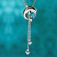 The Concorde Collection Dolphin Splash Necklace - A delicate 1/3 carat Blue Topaz... Austrian crystals... solid sterling silver. - Grace and Beauty of the Sea