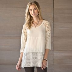 """SWEET HARMONY TOP--Who says you can't have it all? This perfectly feminine top features a symphony of fabrics in perfect concert: silk chiffon and lace pair beautifully with simple cotton and sumptuous velvet. Cotton/silk/rayon. Hand wash. Imported. Exclusive. Sizes XS (2), S (4 to 6), M (8 to 10), L (12 to 14), XL (16)L. Approx. 30-1/4""""L."""