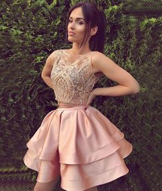 pink tow pieces short prom dress, cute pink homecoming dress