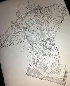 Harry Potter Sketch, Arte Do Harry Potter, Harry Potter Drawings, Harry Potter Theme, Harry Potter World, Tattoo Buch, Hp Tattoo, Hogwarts Tattoo, Harry Tattoos