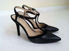 BCBGeneration black leather Decorah T-strap pointy toe pumps sz 6.5 #BCBGeneration #PumpsClassics