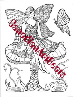 Downloadable Pensive Fairie Zentangle inspired Coloring Page by CanadianArtBeats on Etsy
