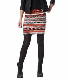 Jacquard knit mini skirt ecru print - Promod
