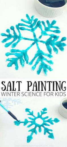 Snowflake Salt painting Winter Science Science can take many forms and this is a fun winter STEAM activity for the season using super easy supplies. Have you ever tried salt painting for a quick science and art activity? We think snowflake salt painting i Science Experiments For Preschoolers, Cool Science Experiments, Science For Kids, Art Activities For Preschoolers, Children Activities, Science Ideas, Bastelarbeit Winter, Winter Kids, Winter Camping