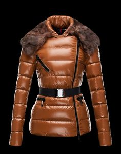 MONCLER FAUCON $ 1,895.00 Jacket in lacquered nylon created exclusively for Moncler. Shiny, down-proof and breathable. Water-repellent treatment. Kid fur collar. Detachable elastic belt with logoed buckle. Techno fabric / Detachable collar / Three pockets / Zip / Feather down inner / Logo / Belt