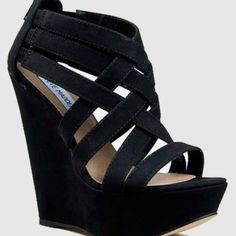 Ok I am in absolute LOVE! I WANT THESE SOOOOOO BAD!!!! Steve Madden 'Xcess' Sandal Black Wedge Sandals, Leather Wedge Sandals, Leather Wedges, Wedge Heels, Black Strappy Shoes, Shoes Heels Wedges, High Heels, Shoes Sandals, Pumps