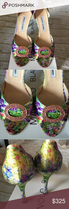Manolo Blahnik Sedaraby in Valli SATC shoes in multi color print with pink crystal detail Manolo Blahnik Shoes Heels