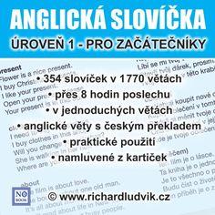 Audiokniha vás učí poslouchat jednoduché věty pořád dokola a to dlouho, až přes 8 hodin. Můžete poslouchat celkem 1770 jednoduchých vět. To není málo, když si uvědomíte, že všechny věty jsou jiné. Za každou anglickou větou je připraven český překlad.Nejsou to složité věty, kterým nebudete rozumět, ale jednoduché a praktické věty.V těchto větách budete moci rozpoznat jednotlivá slovíčka a procvičovat si jejich zapamatování. Audio Books, English, Education, Learning, School, Studying, English Language, Schools, Teaching