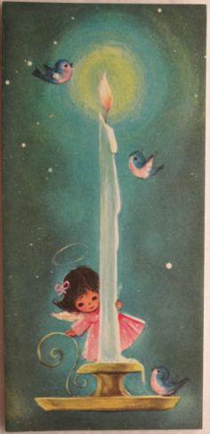 #84 60s Sweet Angel & the Big Candle-Vintage Unused Christmas Greeting Card