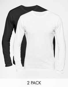 "Long sleeved T-shirt by Selected Soft-touch jersey Crew neck Regular fit - true to size Two pack Machine wash 100% Cotton Our model wears a size Medium and is 184cm/6'0.5"" tall"