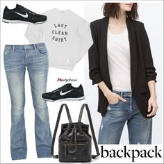 black blazer by paculi on Polyvore featuring NIKE, FOSSIL, women's clothing, women's fashion, women, female, woman, misses, juniors and nastydress