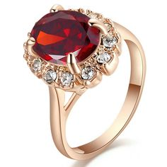 Yoursfs Sexy Red Austrian Crystal Rings for Women Prom Party Fashion Jewellery Birthday Gift