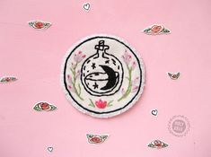 Witch Patch | Moon patch | Patch for jackets | Feminist Patch | Grunge patch | 90s patch | Sew on patch | Floral patch