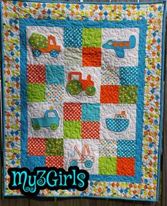 Cute baby boy quilt by My3GirlsQuiltShop on Etsy