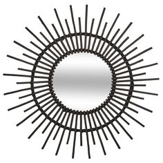 da0fae79c0626a Miroir soleil rotin noir réf. 30022100 - Infos et Dimensions Longueur   76  cm -