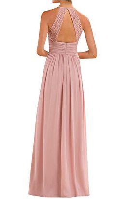 dc3fb703660 Annadress Women s Halter Lace A-Line Chiffon Floor-Length Bridesmaid Dress  Welcome to Annadress