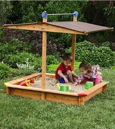This sandbox has an adjustable roof that can protect the kids from the sun and rotates down to cover the box when not in use.  Clever