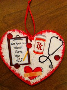 Nurse Christmas Ornament or gift tag Free personalization by HeavenlyDesigns1 on etsy.com.  Shop for wide selection of ornaments, themed trees, and themed baskets/gift card holders $6.00