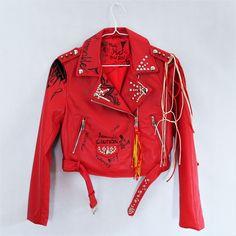 Hand painted Jacket, Leather Red Jacket, Custom Jacket, Biker Jacket, Fire Jacket
