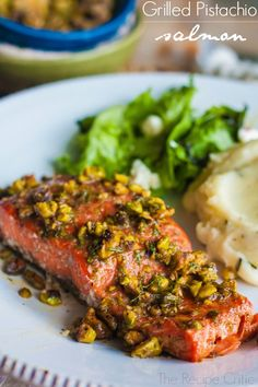 Grilled Pistachio Salmon at http://therecipecritic.com  Amazing melt in your mouth salmon grilled to perfection with an amazing pistachio glaze!