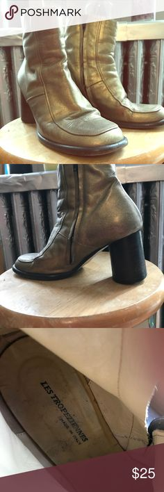 """af6072e36ee53f Metallic gold Les Tropeziennes Boots All leather shorty zipper boot with  cylinder 2.5"""" wood heel. les tropeziennes Shoes Ankle Boots & Booties"""