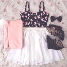 ♡Teen fashion. Ariana grande inspired outfit this is gorgeous perfect for going out bralet and skater skirt DONE,!! <3