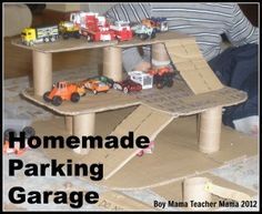 Homemade Parking Garage I came across this photo yesterday and thought I would share it with you all. This is my son and the parking garage we made out of toilet paper tubes and cardboard. This ph. Projects For Kids, Diy For Kids, Crafts For Kids, Toy Garage, Homemade Toys, Cardboard Crafts, Recycled Crafts, Diy Toys, Car Parking
