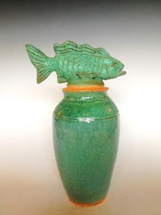 Fish Tales Pottery Bottle with Cork from Pats Pots In Key West Florida