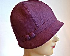 Cloche Hat - Women s Cloche Hat - 1920s Linen Cloche - Made to Order Mens  Newsboy 103b9ea273bb