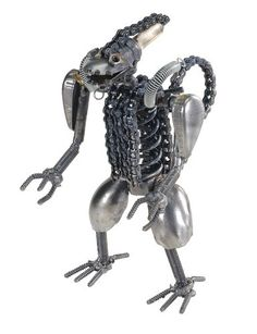 Alien V handmade metal statue from recycled materials from MacabreMercantile.com