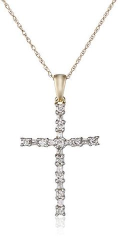 10K Yellow Gold Diamond Cross Pendant Necklace 13 cttw 18 -- More info could be found at the image url.