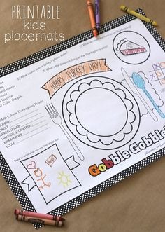 2014 Thanksgiving Placemat Crafts Printables for Kids - Happy Turkey Day, Gobble, Plates  #2014 #Thanksgiving