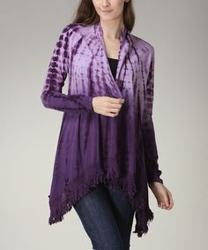 Loving this CottyOn Purple Ombré Tie-Dye Open Cardigan on #zulily! #zulilyfinds